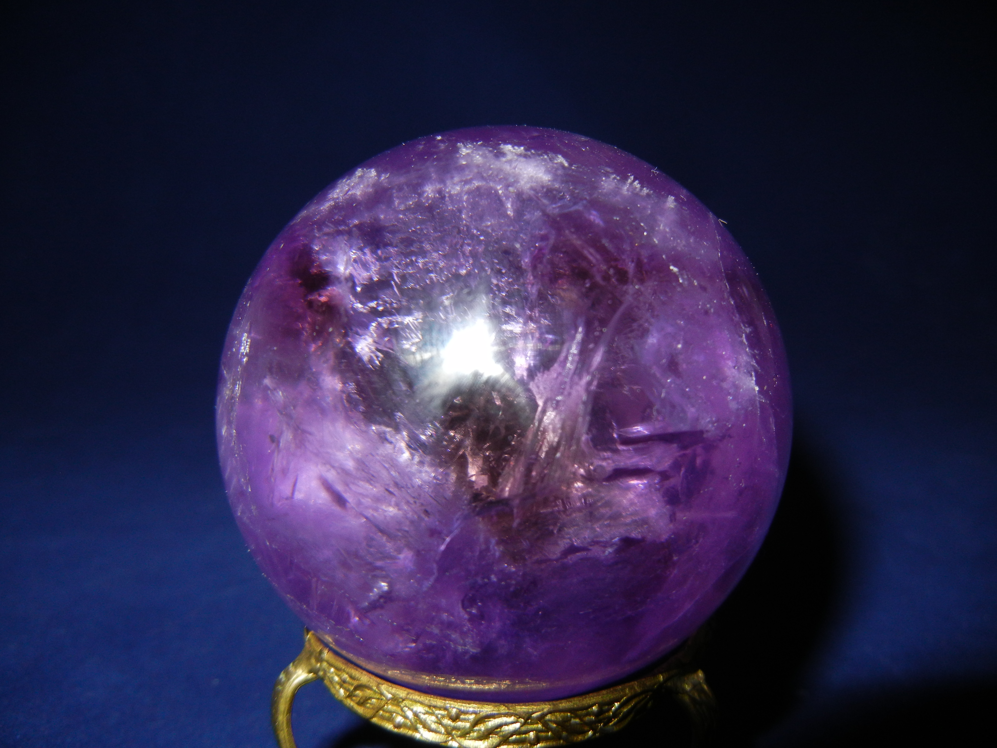 AMETHYST SPHERE, WITH SMOKEY AMETHYST BANDS RARE FIND FROM BRAZIL